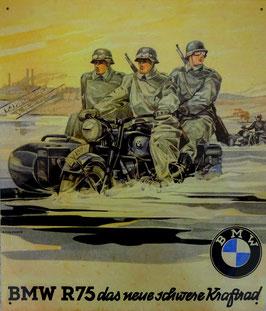 BLECHSCHILD MOTORRAD Gespann BMW R75 Wehrmacht 2. Weltkrieg  Nr. 249