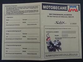 ABE Betriebserlaubnis Solex Mofa Motobecane S 3800 PAPIERE