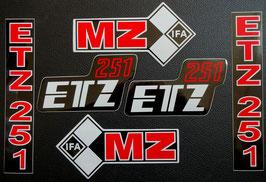 6 teiliger  Aufklebersatz  MZ ETZ 251