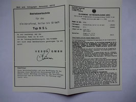 ABE Vespa PIAGGIO NSL Betriebserlaubnis sauber REIßFEST PAPIERE ECHT DOKUMENT