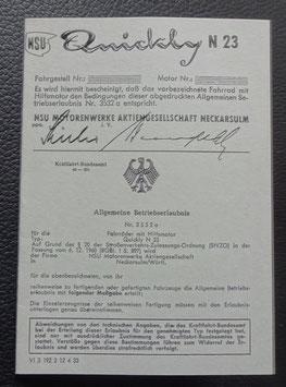 ABE NSU Quickly N 23 Blanco Betriebserlaubnis  50/60 er Jahre graues papier
