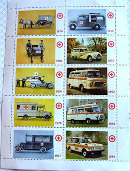 Briefmarken WARTBURG BARKAS B 1000 & SMH EMW 340 Framo Rotes Kreuz