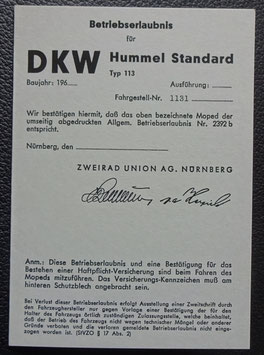 ABE DKW Hummel Standard Blanko Betriebserlaubnis  graues papier