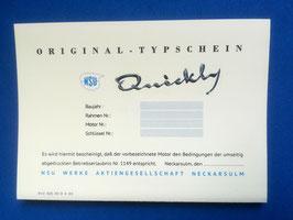 ABE PAPIERE Urquickly NSU Quickly ab 1953 Betriebserlaubnis TYPSCHEIN Blanko