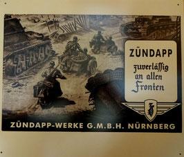 Blechschild Motorrad Zündapp Militär Panzer 2 WK ca. 33 x 39 cm Nr. 1609