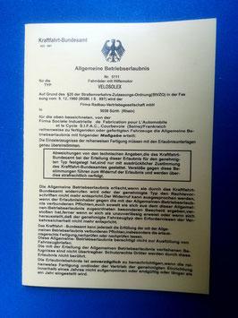 ABE Velo Solex Velosolex Betriebserlaubnis 1700 MOFA PAPIERE PREISSFEST RABATT