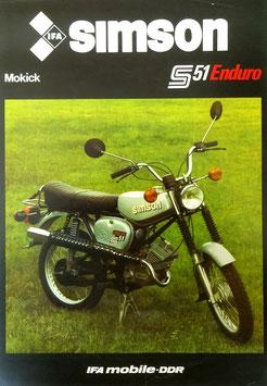 Simson Prospekt S 51 ENDURO Mokick  50ccm 1984