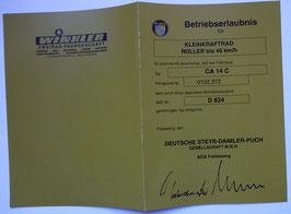 ABE Betriebserlaubnis PUCH Steyr Daimler Papiere Kleinkraftrad Farbe grün