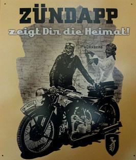 Blechschild Motorrad ZÜNDAPP Nürnberg - zeigt dir die Heimat  Nr. 1563