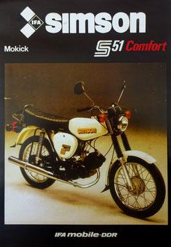 Simson Prospekt S 51 Comfort  Mokick 50 ccm    1986