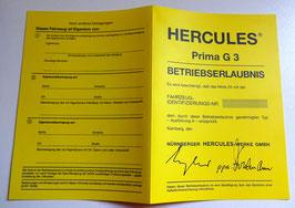 ABE Hercules Moped Betriebserlaubnis Blanko PRIMA G 3 gelb Papiere