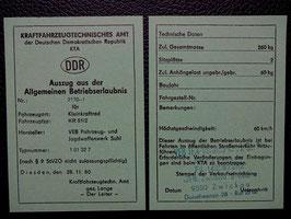 Schwalbe KR 51/2 Simson Betriebserlaubnis ABE blanco DDR Stil