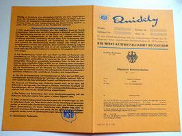 ABE NSU Quickly Betriebserlaubnis Typschein ocker ab 1956 & BLANKO