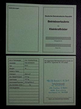 Simson DUO ABE Betriebserlaubnis FBA Brandis mot Krankenfahrzeug DDR KTA no 930