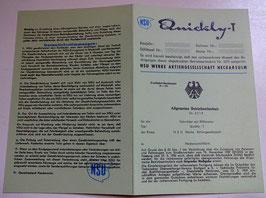 ABE NSU Quickly T Betriebserlaubnis Blanko 51 ZT 3 grüne Papiere BLANKO