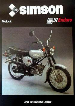 Simson Prospekt  S 51 ENDURO Mokick  50 ccm 1985