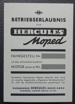 ABE  Hercules Moped Blanko Betriebserlaubnis  graues Papier