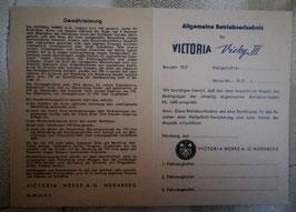 ABE VICTORIA Vicky III Nürnberg Werke Betriebserlaubnis Blanko Moped Mofa