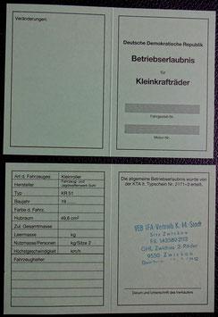 Schwalbe KR 51/1 Simson Betriebserlaubnis ABE  blanco DDR Stil