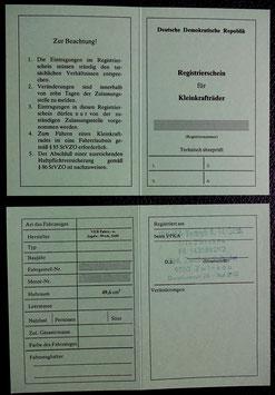 DDR MOFA SL1 ABE Simson Betriebserlaubnis Registierschein blanco