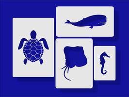 Schildkröte Wal Manta Seepferdchen Schablone 4Pack
