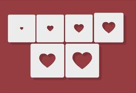 HERZ Nr2 Schablone 6Pack Herz Höhe 1 bis 6 cm