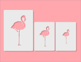 FLAMINGO Silhouette PET Schablonen 3Pack/ Flamingo Höhe 7 / 10/ 15 cm