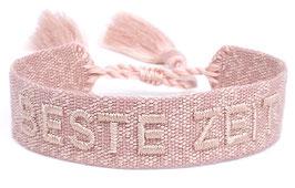 Stoff Armband BESTE ZEIT rosa