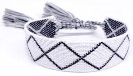 Stoff Armband schwarz/weiß