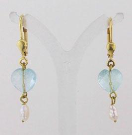 AQ-02 Ohrringe Aquamarin Süßwasserperle