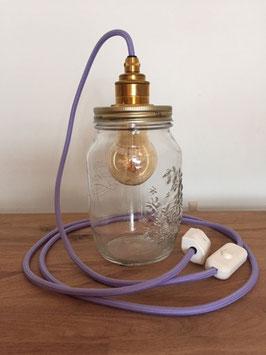 Einmachglas mit Textilkabel lila