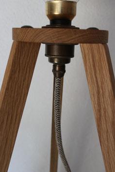 Dreibein-Lampe Eiche, Gestell ca. 56 cm hoch, OHNE Leuchtmittel!