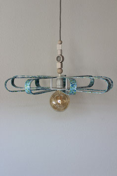 Deckenlampe blau mit Blumenmuster, Durchmesser ca. 63 cm, inklusive abgebildetem Vintage LED-Leuchtmittel