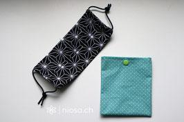 Maskentäschli - Punkte mint-weiss mit grünem Druckknopf
