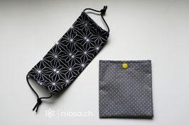 Maskentäschli - Punkte grau-weiss mit gelbem Druckknopf