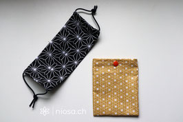 Maskentäschli - Blumen Senf-Weiss mit orangem Sonnenknopf