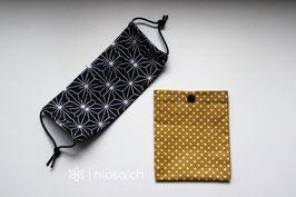 Maskentäschli - Punkte Senf-Weiss mit schwarzem Druckknopf