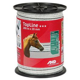 TopLine Plus Weidezaunband 200m - 20mm weiß-schwarz