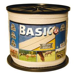 Basic Classe-Weideband, 200m, 40mm, weiß, 8x0,16 Niro   Ausverkauft