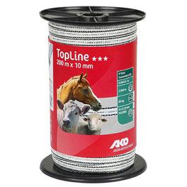 TopLine Plus Weidezaunband 200m - 10mm weiß-schwarz