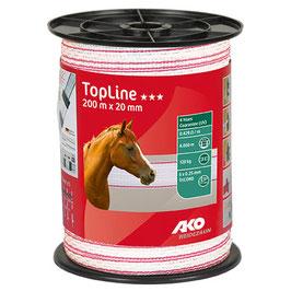 TopLine Plus Weidezaunband 200m - 20mm weiß-pink