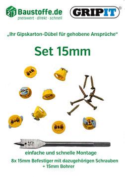 GripIt® - 15mm Befestiger mit Flügeln (gelb)