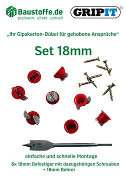 GripIt® - 18mm Befestiger mit Flügeln (rot)