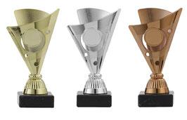Pokal 3er Serie Valetta gold silber blau.