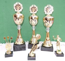 Pokale Set Darts 6 tlg. gold für viele Gelegenheiten