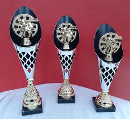 Pokal 3er Serie Dart ROCKET gold silber
