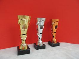 Fußball Pokal gold silber bronze
