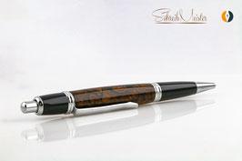 »Merlin« Klickkugelschreiber aus echten Kaffeebohnen, Chrom/Black Chrom