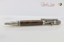 Biker-Stift, Black Walnut XG (amerik. Walnuss), Klickkugelschreiber, Old Silver