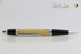 »Merlin«, Klick-Kugelschreiber, Buche leicht gestockt, Black Chrom und Chrom